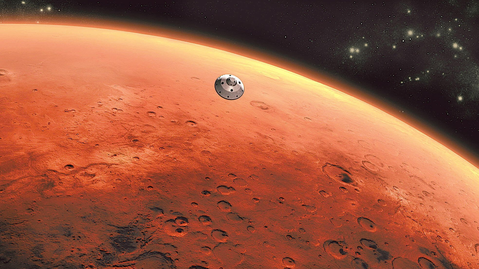 An artist's concept of NASA's Mars Science Laboratory spacecraft approaching Mars. The Curiosity rover is safely tucked inside the spacecraft's aeroshell. The mission's approach phase begins 45 minutes before the spacecraft enters the Martian atmosphere. It lasts until the spacecraft enters the atmosphere. For navigation purposes, the atmospheric entry point is 2,188 miles (3,522 kilometers) above the center of the planet. This illustration depicts a scene after the spacecraft's cruise stage has been jettisoned, which will occur 10 minutes before atmospheric entry.The landing is set for late evening August 5, 2012. REUTERS/ NASA/JPL-Caltech/Handout (UNITED STATES - Tags: SCIENCE TECHNOLOGY) FOR EDITORIAL USE ONLY. NOT FOR SALE FOR MARKETING OR ADVERTISING CAMPAIGNS. THIS IMAGE HAS BEEN SUPPLIED BY A THIRD PARTY. IT IS DISTRIBUTED, EXACTLY AS RECEIVED BY REUTERS, AS A SERVICE TO CLIENTS